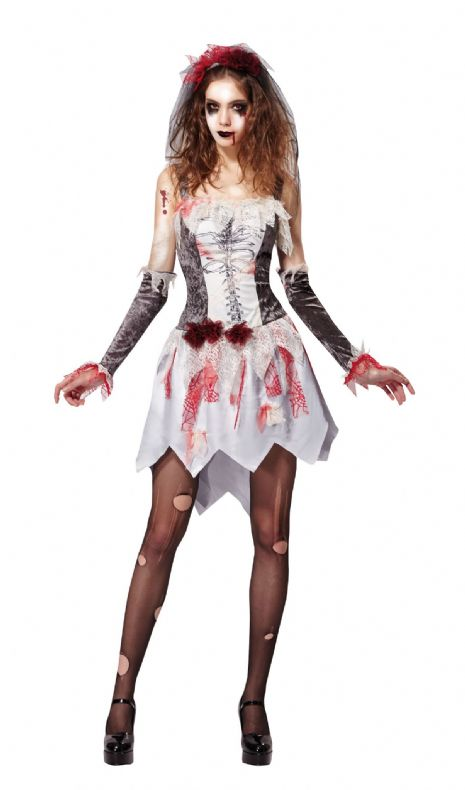 Ladies Skeleton Bride Costume Grey/White Halloween Fancy Dress Outfit